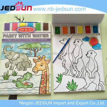 Creative water painting coloring drawing book with water brush pen for kids and children