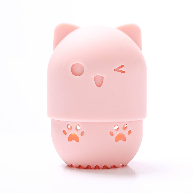 Silicone Cat Cute Shaped Candy Color Makeup Sponges Holder Beauty Foam Blender Custom Logo Travel Portable, Customized color