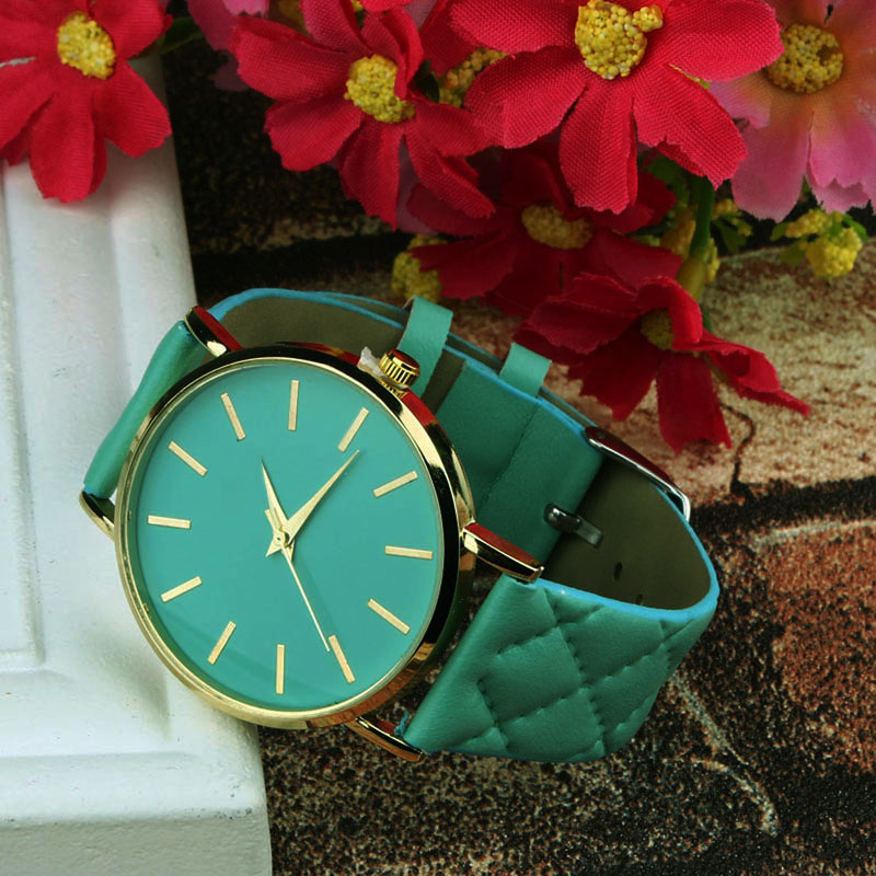 Dress Simple Watches Women Men Unisex Clock Checkers Faux Leather Band Quartz Wrist Watch
