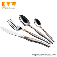 86pcs luxury flateware Cutlery Set Tableware set gold in wooden case