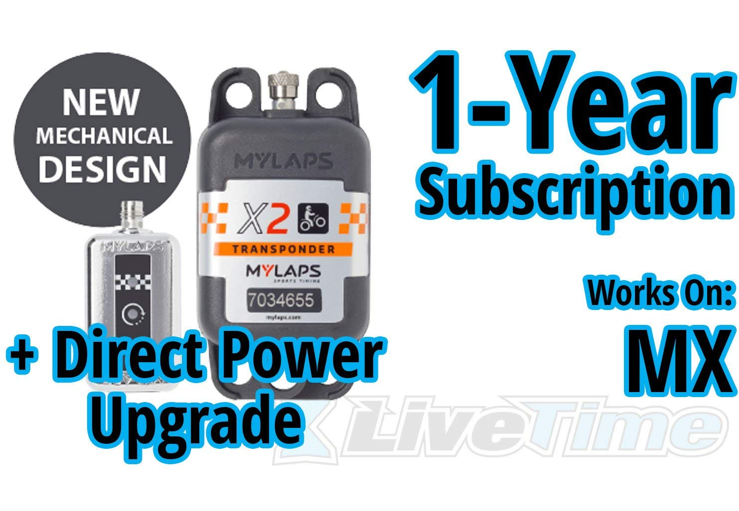 MyLaps X2 Transponder, Direct Power, for MX (motocross), includes 1-Year Subscription