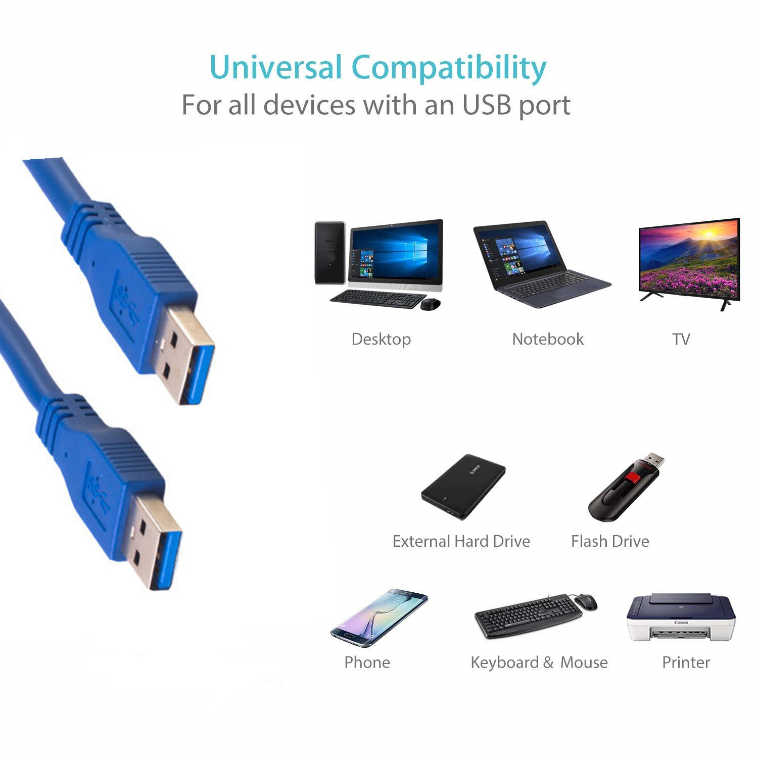 Super speed data download downmale to male 5Gbps 3A charging usb 3.0 cable Extension