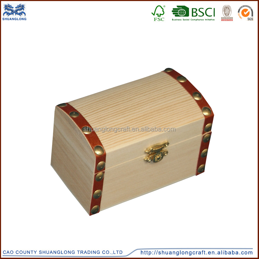 Caoxian manufacture art minds wooden pirate treasure chest , mini wooden treasure chest jewelry box