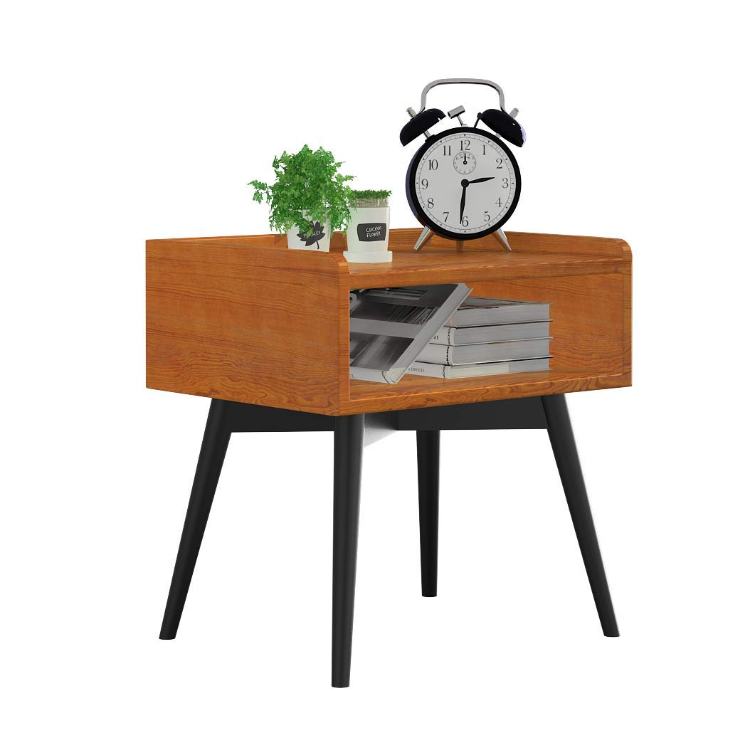 Bedside Table, Simple Personality Corner Table Solid Wood Whole Installation Without Door Locker Wrought Iron Bedroom Drawers Nordic (Color : B)