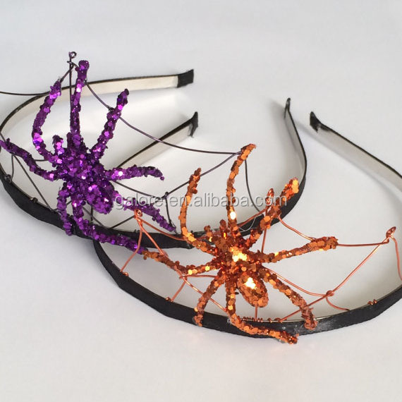 HL095 glitter halloween holiday spider headband