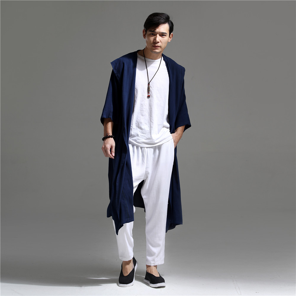 7f3bb92bb746 2019 Linen Trench Coat Men Summer Thin Long Trench Coat Hooded ...