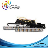 Xenon White/Amber Yellow Universal Fit 18-LED Light LED Daytime Running Fog Light LED DRL with Turning