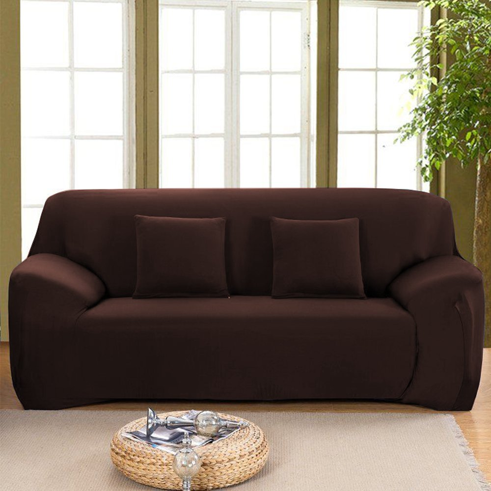 """Stretch Seat Chair Covers Couch Slipcover Sofa Loveseat Cover 9 Colors/4 Size Available for 1 2 3 4 Four People Sofa + Pillowcase (57""""-72""""/2 Seater, Coffee)"""