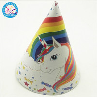 Top-selling Unicorn cartoon theme party paper caps hats kids event supplies birthday wedding baby shower party decorations hats