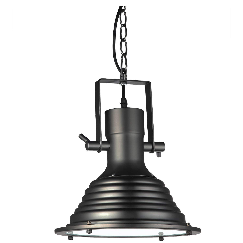 "VONN VVP21041BZ Industrial 11"" LED Pendant Light, Industrial Pendant Lighting with Ribbing, Adjustable Hanging Light, Dorado Collection, Architectural Bronze"