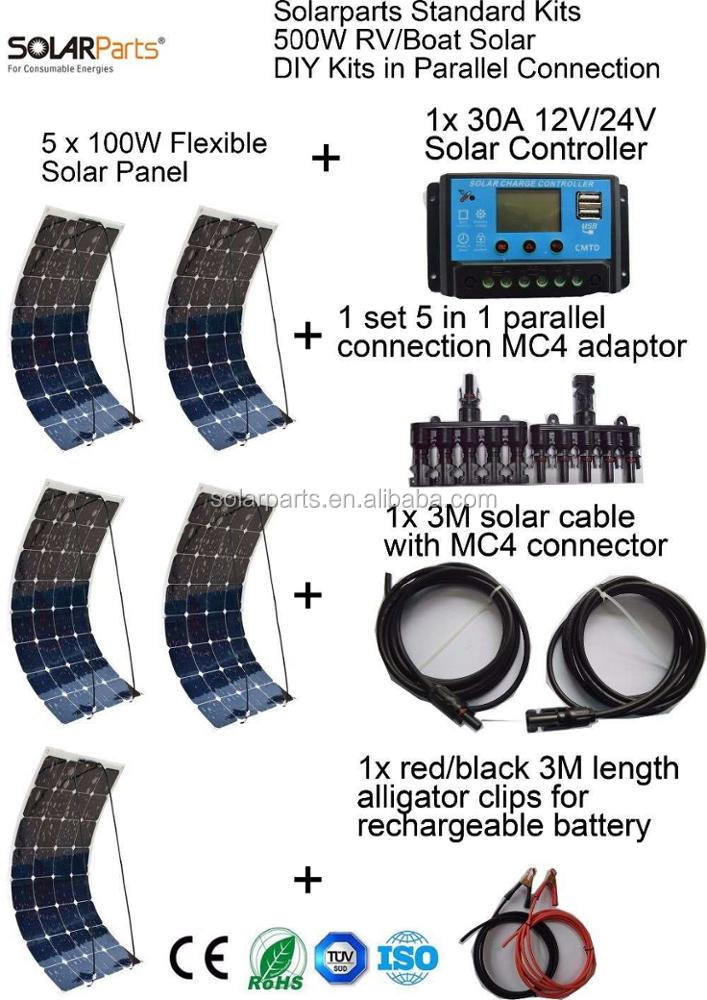 Solarparts Standard <strong>Kits</strong> 500W DIY RV/Boat <strong>Kits</strong> Solar System 100W flexible solar panel+controller+cable outdoor light led module.