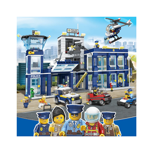 Hot police station building set plastic building blocks toys police Cheap construction toy for kids Christmas gift