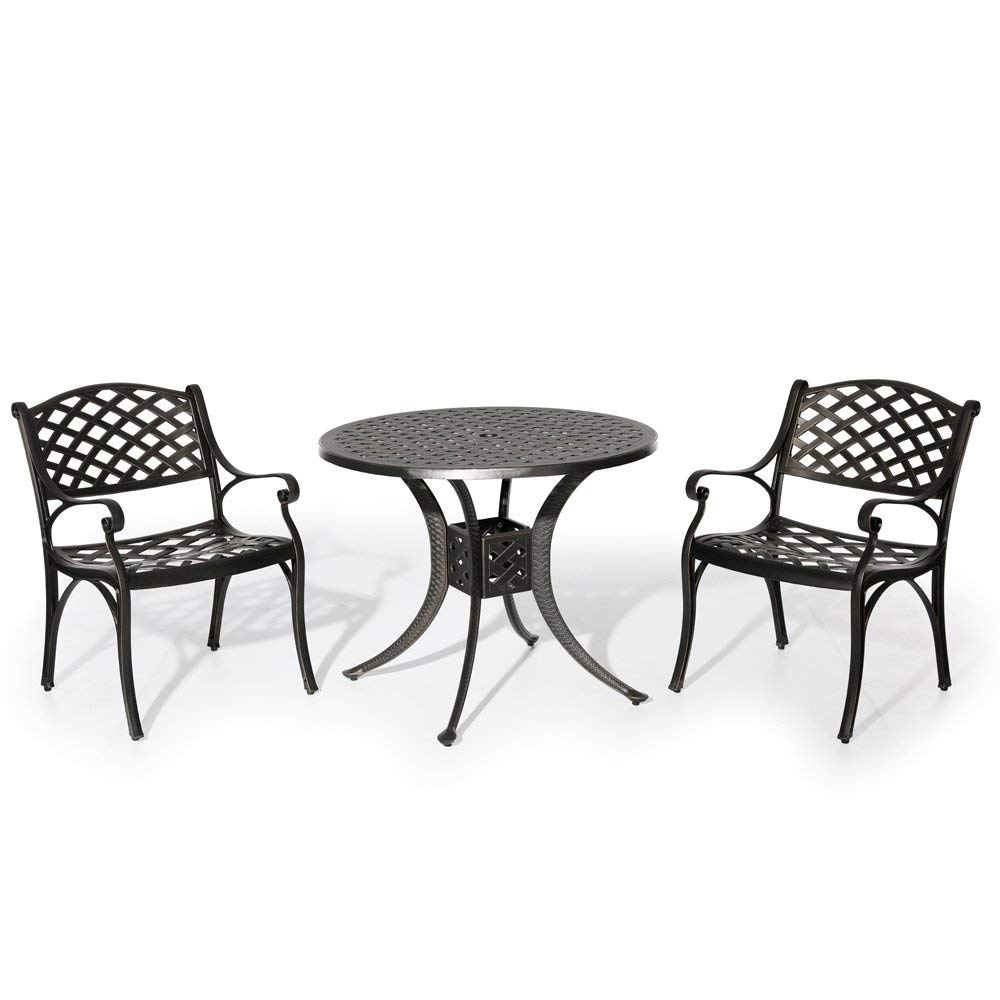 Nuu garden outdoor patio furniture 3 piece powder coated aluminum dining set with 36 round