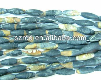 Natural stone picasso jasper barrel beads jewelry