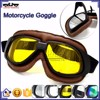 BJ-GT-008 Scratch Resistant Yellow Lens Brown Leather New Model Motorcycle Goggles