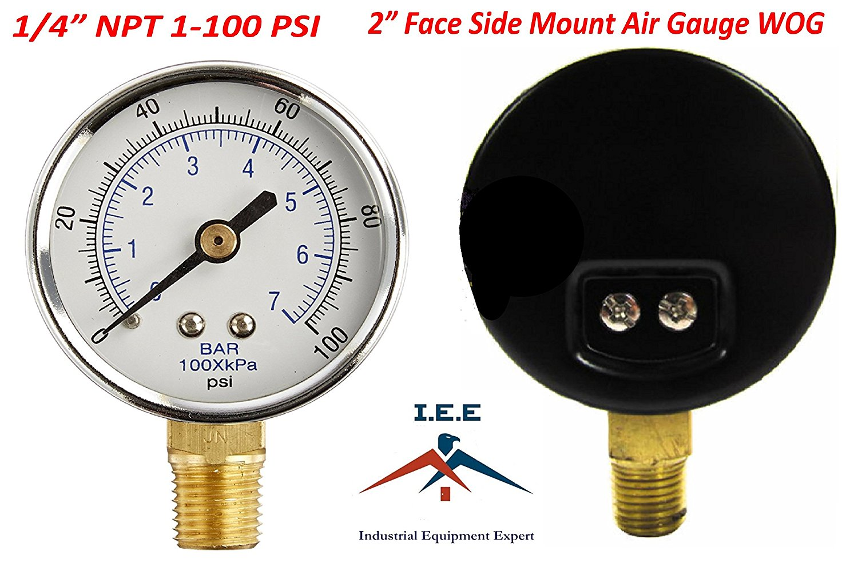 "10 PACK PRESSURE GAUGE Hydraulic Compressor 2/"" Dial 0-100 psi LOWER mnt 1//4/"" NPT"