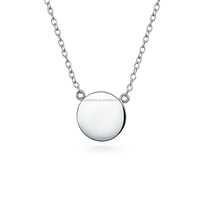 Simple design 925 sterling plain silver round tag pendant necklace