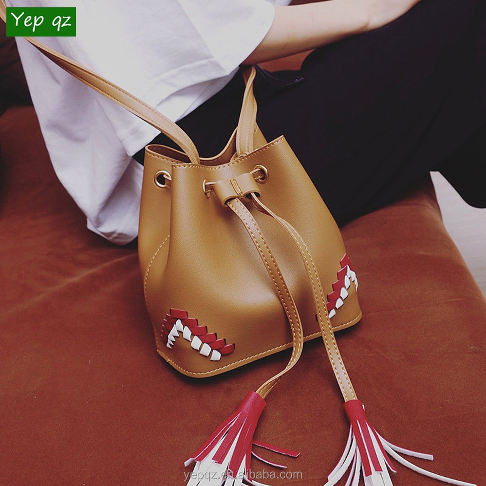 Stylish China online shop pu leather brown color bucket bag wholesale small shoulder bag for <strong>women</strong>