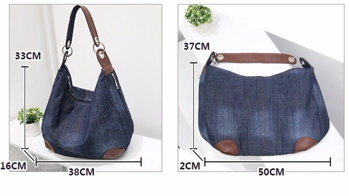 f5c961c38a Women Bag Big Hobo Purses and Hand bags Jean Shopper Tote Luxury Designer  Bag Large Denim Ladies Handbags Crossbody Shoulder Bag. cc