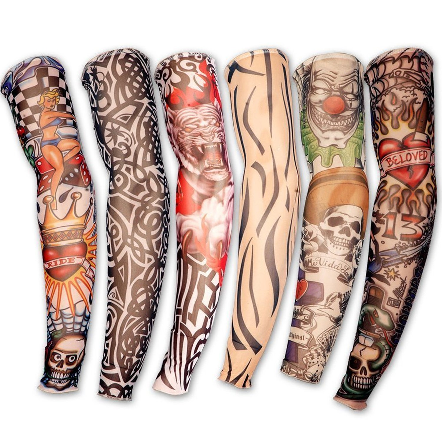 5311f1e16 Get Quotations · Yonger 6pcs Set Yonger Body Art Arm Stockings Slip  Accessories Fake Temporary Tattoo Sleeves, Tiger