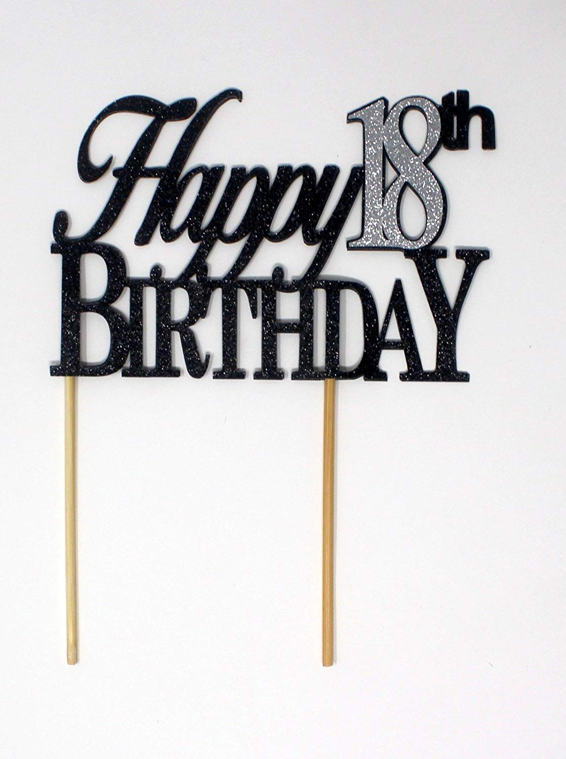 All About Details Happy 18th Birthday Cake Topper,1pc, 18th Birthday, Cake Decor, Party Decor, Glitter Topper (Black & Silver)