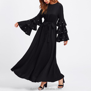 Fashion New Arrival Maxi Party Dress Muslim Arabic Style Abaya Printed Flower Turkish Evening Dress