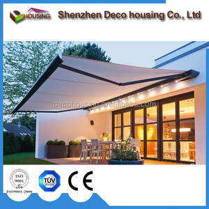 Modern house waterproof full cassette electric retractable awning with tubular motor