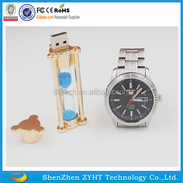 2017 new Fashion gift hourglass crystal Metal Usb flash drive sandglass Pen drive Usb memory stick disk Custom logo