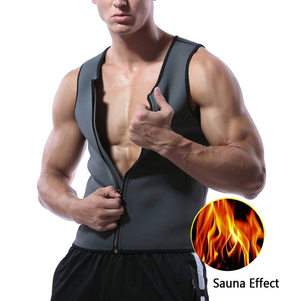 2eee48c63ce Get Quotations · Paskyee Men Hot Neoprene Sauna Tank Top Zipper Waist  Trainer Vest Body Shaper Workout Shirt For