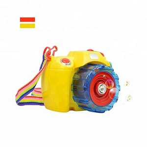 Electric Bubble Making Machines Automatic Camera Shape Bubble Blower for Kids with Light and Music Bubble Gun Yellow