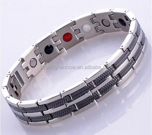 titanium stainless steel infrared negative ion magnet germanium hematite energy bracelet with magnetic 4 in 1 bio health