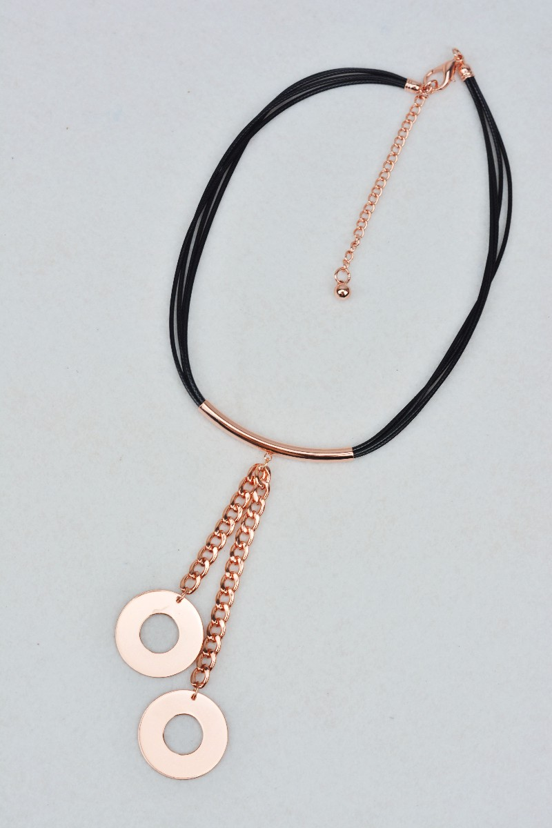 China Puying Chain And Hoops Pendent Rose Gold Tube Wax Cord Lariat Choker Necklace Disc Necklace With Lobster Clasp