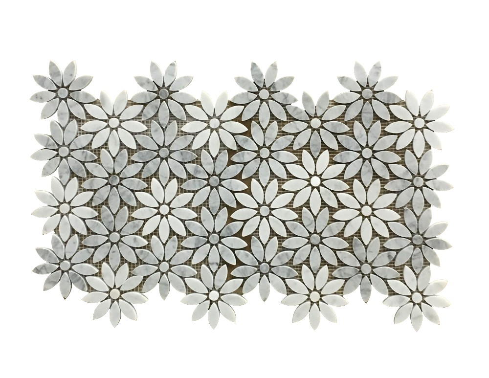 Yixing Carrara White Marble Honed Flower Mesh Water Jet Mosaic Wall Tile Product On Alibaba