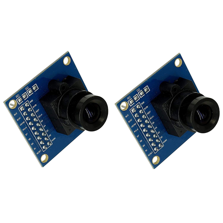 Optimus Electric 2pcs OV7670 Image Sensor Processor VGA Camera Module with Saturation, Hue, Gamma and White Balance Adjustment Capability from