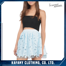 Young Girls Sexy Wearing Short Maxi Skirt In Micro Mini Sunbeam LIGHT Blue LACE Skater Skirt