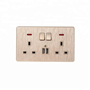 Universal Plug 3 Hole 13a 2 Gang 2 Usb Electrical Wall Switch Socket