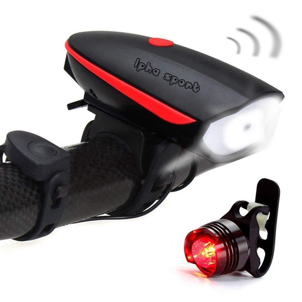 Lapha'' Sport bike led lights Set &Taillight Headlight Rechargeable Light Bicycle Bike Led USB Bright Super
