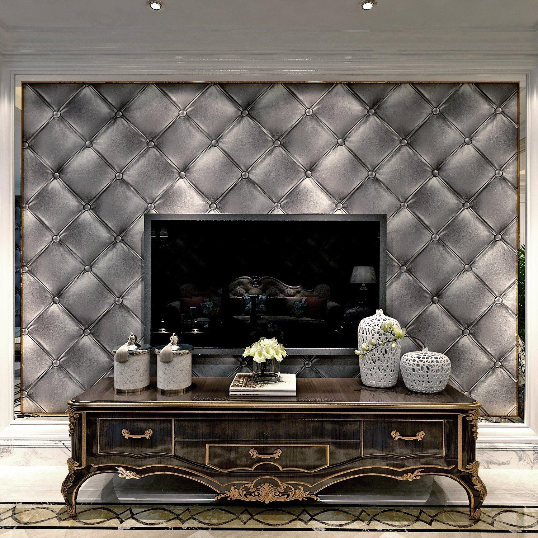 HANMERO Modern Luxury 3D Faux Leather Textured 10m Vinyl Mural Wallpaper for Living Bedroom (grey)