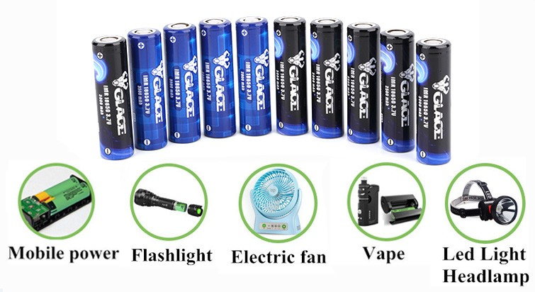 Glace high quality cyclindrical 2800mAh 3.7V 18650 li ion battery