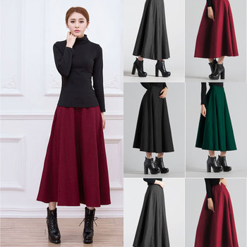 b60a81d785 latest wholesale office lady girls woolen long winter fashion casual mature  skirt for woman