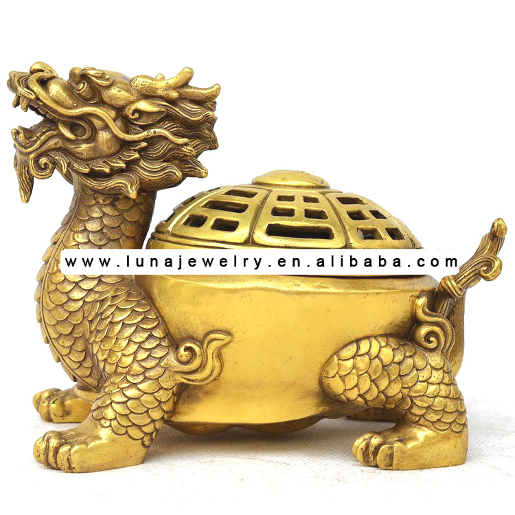 Brass Material Dragon Turtle Incense Burner,oil burner