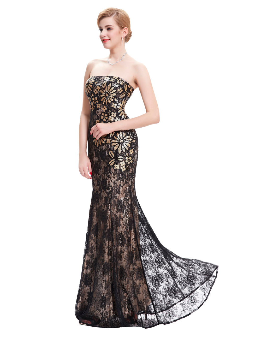 strapless sexy long lace evening dress 2016 new arrival formal dresses robe de soiree sirene. Black Bedroom Furniture Sets. Home Design Ideas