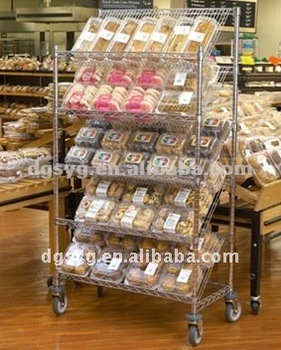 Wire Shelf Cart | Angled Wire Display Shelf Carts And Slanted Wire Shelf Buy Display