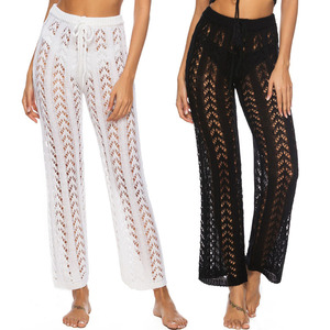 New Hollow Crochet Knit Loose Wide Pants Holiday Style Beach Pants Solid Color Trousers