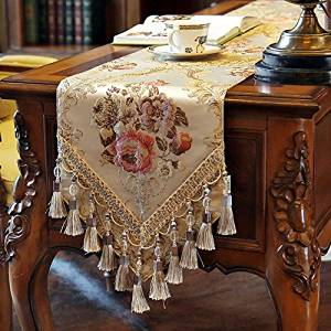 """European Style Polyester Luxury Vintage Embroidered Floral Table Runner Size:30x180cm (11.8x70.9"""")"""
