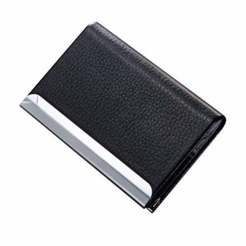 Business name card holder luxury pu leatherstainless steel multi business name card holder luxury pu leather stainless steel multi card casebusiness name reheart Image collections