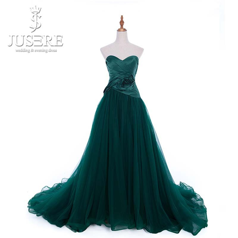 Elegant Sweetheart Neck Pleated Tulle Evening Dress Green Latest Design Formal Evening Gown 2015