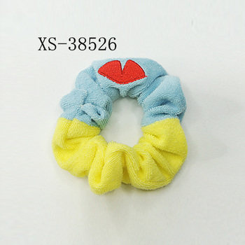 Embroidery Scrunchies Terry Cloth Elastic Hair Ties For Women And