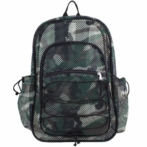 Lightweight Transparent Mesh school backpack bag military mesh pack with Comfort Padded Straps