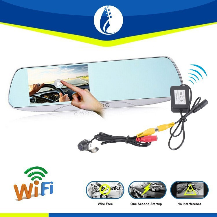 Wiring Free Wireless P2P wifi GPS Navigation Waterproof Rear View Dash Camera Mirror